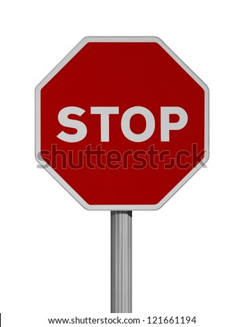 Road sign over white background-STOP - stock photo