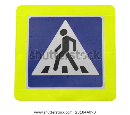 road sign pedestrian crossing on a white background