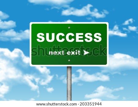 Road sign. Pointer to the right SUCCESS. Choice concept - stock photo