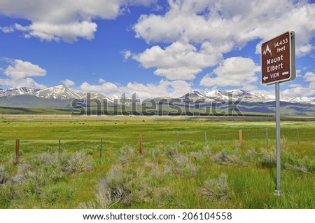 Road Sign Pointing to Mount Elbert, State Highpoint of Colorado, Rocky Mountains - stock photo