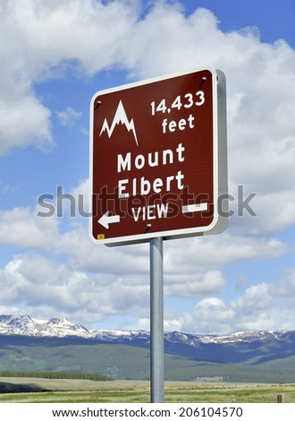 Road Sign Pointing to Mount Elbert, State Highpoint of Colorado, Rocky Mountains