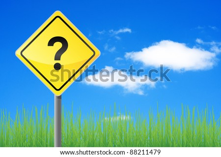 Road sign question. Concept of solving the problem. - stock photo