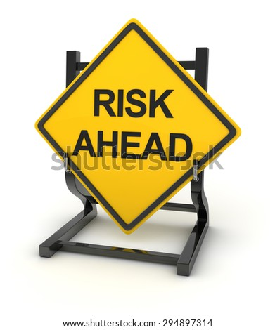 Road sign - risk ahead , 3d rendered image. - stock photo