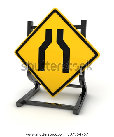 Road sign - road narrows , This is a computer generated and 3d rendered picture.