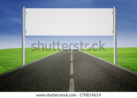 Road sign shot outdoors over highway - stock photo