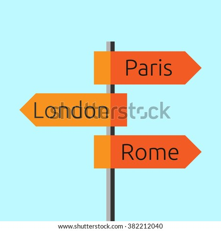 Road sign showing directions to Paris, London and Rome. Route signboard. Tourism, trip, Europe, business concept. Flat style