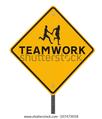 Road sign showing the silhouette of an athlete passing the baton to his teammate in a relay race (on white with clipping path) - stock photo