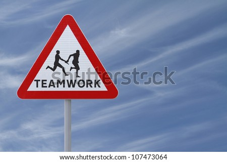 Road sign showing the silhouette of an athlete passing the baton to his teammate in a relay race (against a blue sky background with copy space)