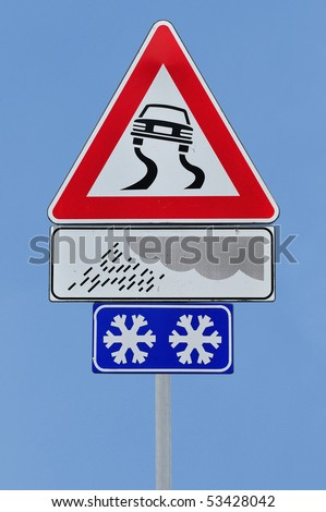Road sign slippery dangerous road - stock photo