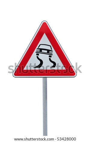 Road sign slippery dangerous road isolated on white - stock photo