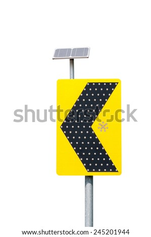 Road sign solar cell , beware - stock photo