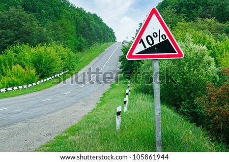 road sign steep slope - stock photo