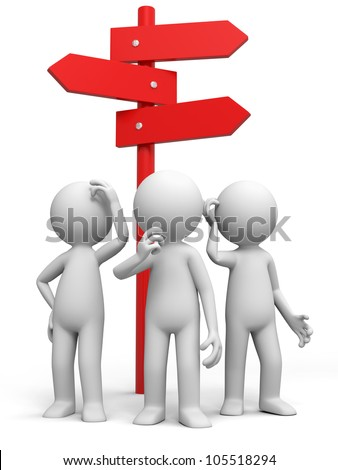 road sign/three man standing in front of a road sign