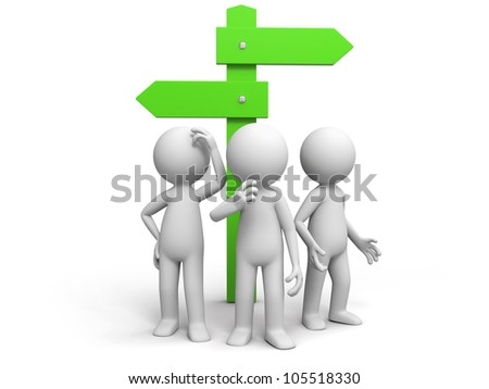 road sign/three man standing in front of a road sign - stock photo