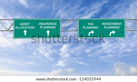Road sign to asset allocation, insurance planning, tax planning and investment planning - stock photo