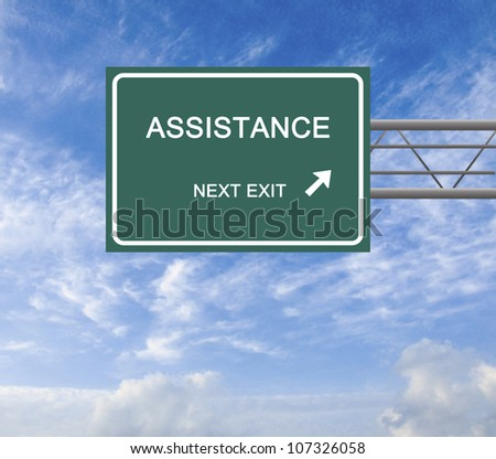 Road sign to assistance - stock photo