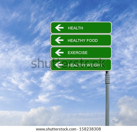 Road sign to exercising,healthy weight,health - stock photo