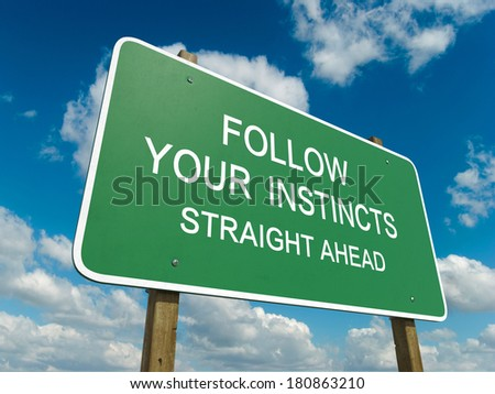Road sign to follow your instincts - stock photo