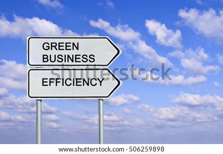 Road sign to green business and efficiency