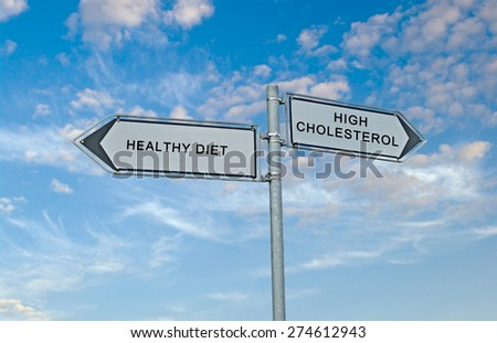Road sign to healthy diaet and high cholesterol