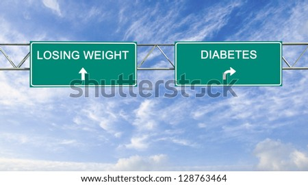 Road sign to losing  weight and diabetes