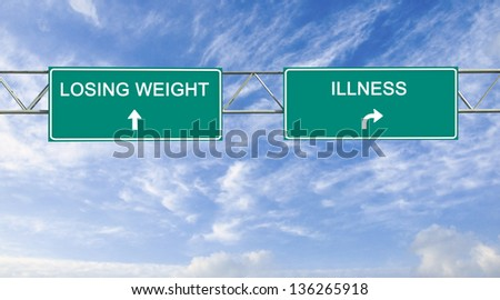 Road sign to losing  weight and illnesss