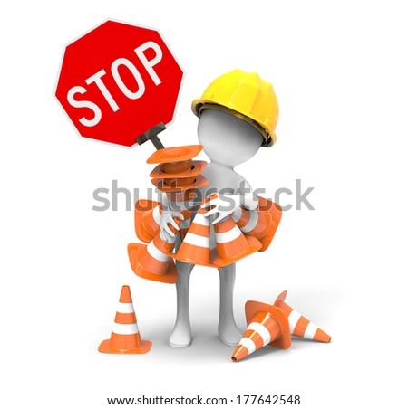 Road sign -Traffic cones - stock photo