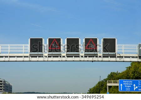 road sign traffic jam on highway, in Germany  - stock photo