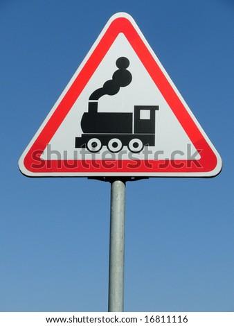 road sign - train - stock photo
