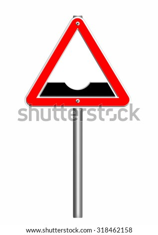 road sign triangle,dangerous dip