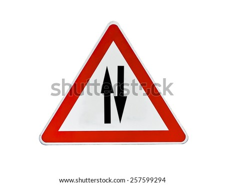 Road sign, triangle traffic sign for two way - stock photo