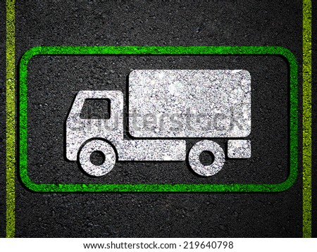 Road sign truck - stock photo