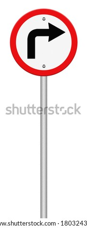 Road sign turn left isolate on white background, Part of a series.