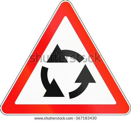 Road sign used in Russia - Roundabout ahead.