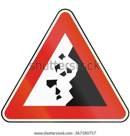 Road sign used in Slovakia - Falling rocks.