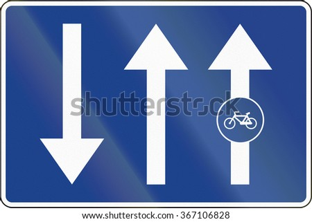 Road sign used in Spain - Bike path or cycle path attached to the road. - stock photo