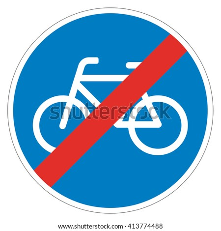 Road sign used in Switzerland - End of cycle lane. - stock photo