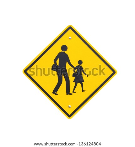 Road sign warning of dangerous school. Isolate on white background - stock photo