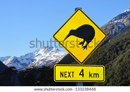 Road sign warning of kiwis near Arthurs Pass, South Island, New Zealand - stock photo