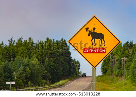 Road sign, warning of Moose crossing in the area, New Brunswick, Canada