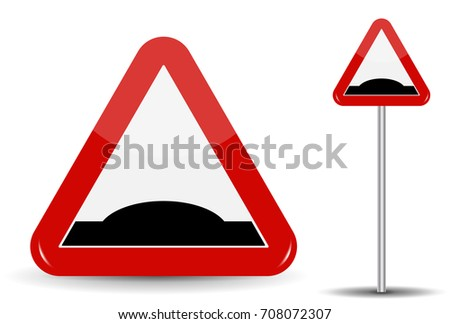 Road sign Warning Sleeping policeman. In Red Triangle is schematically depicted an artificial unevenness in the form of hillock.  Illustration.