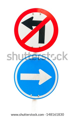 road sign with arrow turn right and don't turn left on white - stock photo