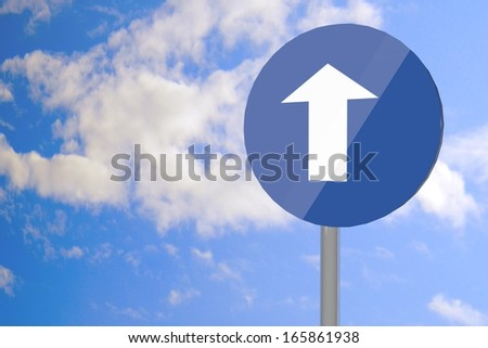 Road sign with arrow up over blue cloudy sky, 3d render