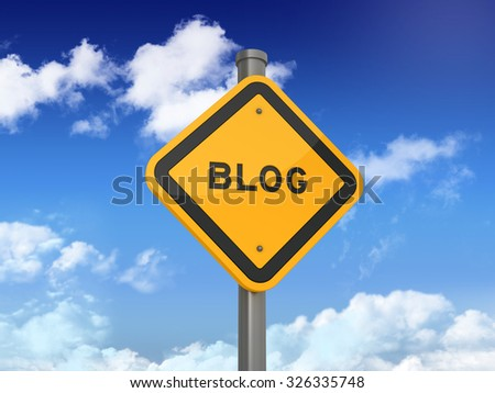 Road Sign with BLOG Text on Blue Sky and Clouds Background. High Quality 3D Rendering