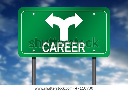 "Road Sign with ""Career"" and Decision Arrow"