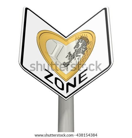 road sign with euro zone as a heart, 3D Illustration - stock photo