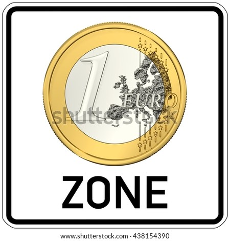 road sign with euro zone, 3D Illustration - stock photo