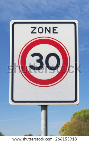 road sign with 30 km speed limit commandment - stock photo