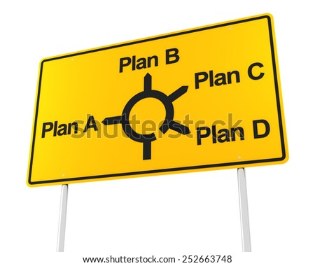 Road sign with options for different plans, 3d render, white background - stock photo