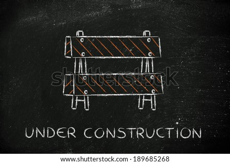 road sign with Under Construction writing - stock photo